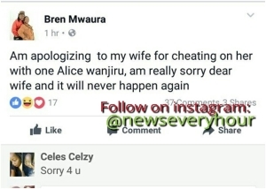 GOBE! See What This Man Said To His Wife On Facebook After Cheating On Her (photos)